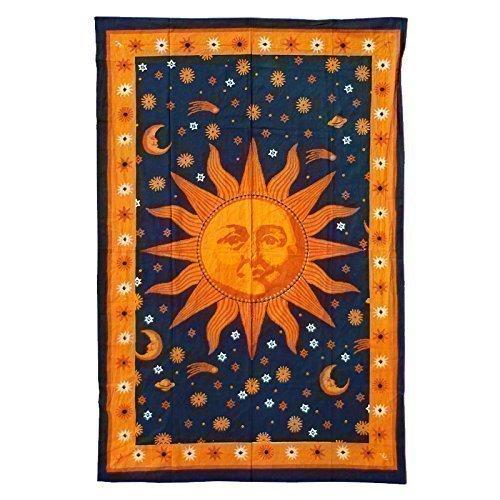 Copriletto Batik Panno Parete 1400 X 2200 Sole Nero Arancio Giallo Goa Spiaggia Pareo Appeso