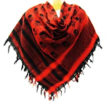 Red Skull Checkered Scarf Wrap Muffler Shemagh