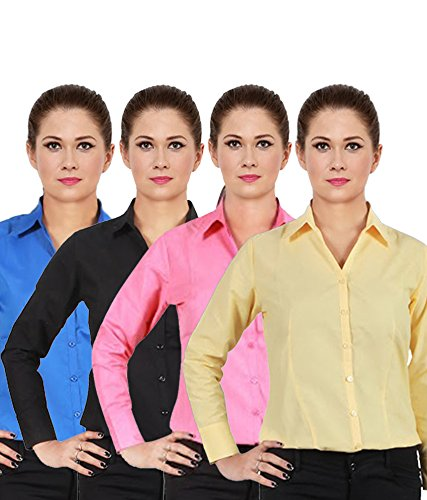 NGT-Womens-Black-Royal-Blue-Lemon-Yellow-And-Carrot-Red-Formal-Shirts-Of-Cotton