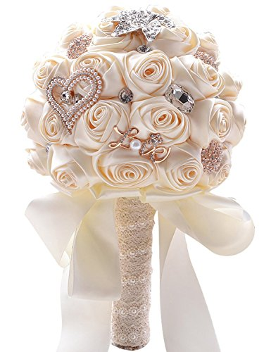 Belle House Cream Wedding Flowers Crystal Bridal Bouquets Lace Pearl Bride Bridesmaid Bouquet