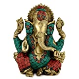 Redbag Ornate With Stone Lord Ganpati Ganesha 9.25 Inch Handcarved Brass Statue 4381