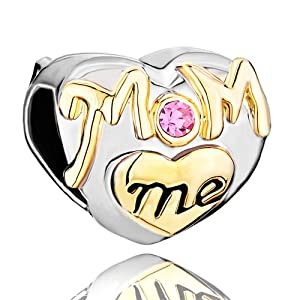 Pugster Pink Swarovski Crystal Golden Love Mom Heart Beads Fits Pandora Chamilia Biagi Charm Bracelet Gifts For Mother