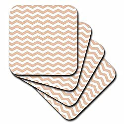 3dRose cst_56642_3 Beige and White Chevron Zig Zag Pattern Aka Salmon Peach Light Brown Skin Color-Ceramic Tile Coasters, Set of 4