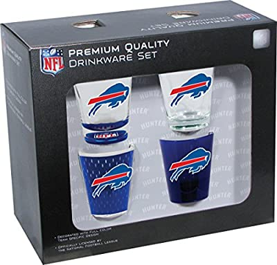 NFL Buffalo Bills Shot Glass Collector Set (4-Piece), 2-Ounce, Clear