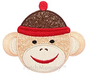 PatchMommy Iron On Applique Patch, Animals - Boy Sock Monkey - Kids Baby