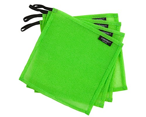 LUNATEC Odor-Free Dishcloths. The perfect scrubber, dish cloth, sponge and scouring pad for cleaning your dishes, pots and pans, and kitchen gear. Ideal for home, RV, boat galley and camp site. (4, Lime) (Dishwashing Cloth compare prices)