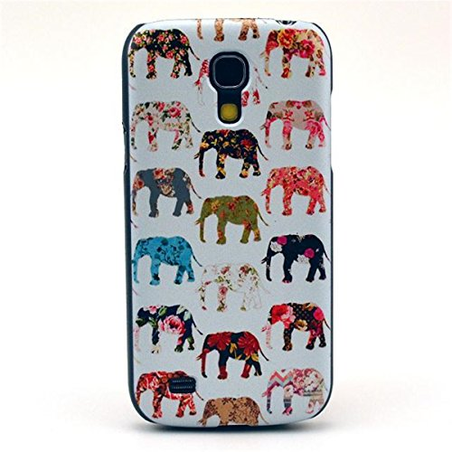 "Cute Funny Picture Hard Back Case Cover Skin For Samsung Galaxy S4 Mini I9190 -Colorful Pattern Of Elephants (Package Includes: 1 X Screen Protector And Stylus Pen Image""Gift_Source"")"