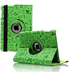 KolorFish iFun Love Printed Funky Designer 360 Degree Rotation Leather Flip Book Case Cover Cover Stand Apple iPad Air Green