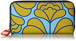 Orla Kiely Damask Flower Textured Vinyl Big Zip Wallet, Sky, One Size