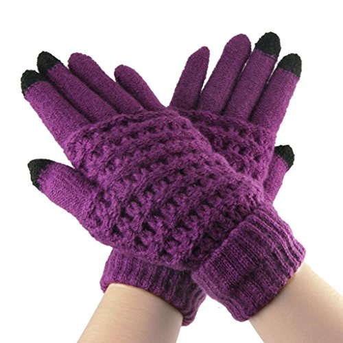 Lerway Lady Girls Women Gloves Winter Warm Wool Knitted Touch Screen Gloves for Touch Screen Cell Phone Tablet PC iPhone 6 Plus Google Nexus 7 5 HTC Samsung Galaxy S5 LG – Purple