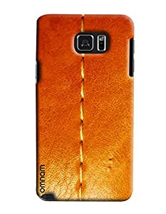 Omnam Threaded Pattern On Orange Leather Printed Designer Back Cover Case For Samsung Galaxy Note 5
