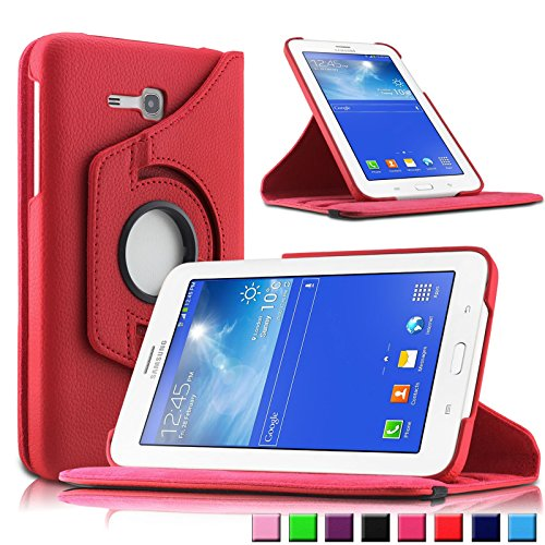 Infiland Samsung Galaxy Tab 3 7.0 Lite Funda Case-PU Cuero 360°Rotación Smart Cover Cascara con Soporte para Samsung Galaxy Tab 3 7.0 Lite T110 T111 (7 Pulgadas) Tablet(Rojo)