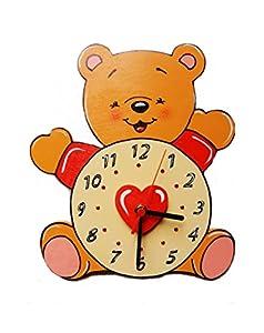 Orologio a forma di orsetto in legno dipinto a mano for Orologio legno amazon