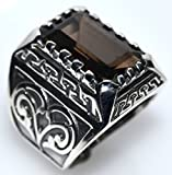Mens Solid Sterling 925 Silver Smoky Quartz Gents Ring, Emerald cut Gemstone Signet Rings! Size S, 9, 60