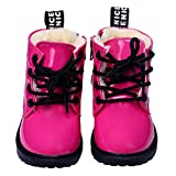 AMA(TM) Toddler Baby Girls Boys Leather Flat Pumps Snow Ankle Boots Shoes (12~18 Month, Hot Pink)
