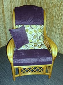 Luxury Cushion Covers for Cane Wicker and Rattan Conservatory and Garden Furniture - Purple Chenille & Lilac Paisley Design - RRP £69.99 by Zippy UK