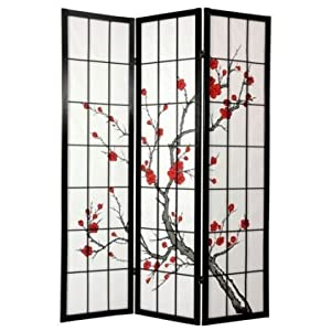 Oriental Furniture 6 ft. Tall Cherry Blossom Shoji Screen - Black - 3 Panels