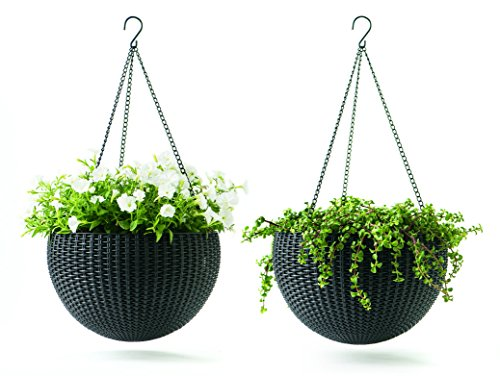 Keter Dia 13.8 in. Round Plastic Resin Garden Plant Hanging Planters Decor Pots 2 pc, Brown (Self Watering Hanging Planter compare prices)