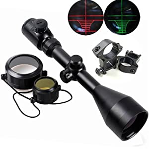 Tactical 3-9X56 red&green mil-dot illuminated optics hunting air rifle scope with free mounts
