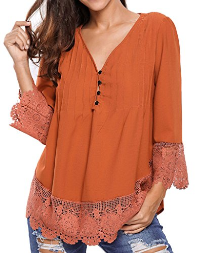 Happy Sailed Women Fashion Boho Lace V-neck Sleeves Blouse Top, Large Brown (Ladies Blouses And Tops compare prices)