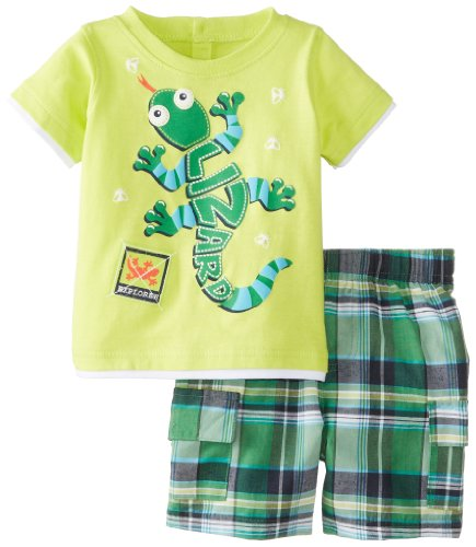 Kids Headquarters Baby-Boys Newborn Lime Crew Neck Tee With Plaided Cargo Shorts Lizard, Green, 3-6 Months front-658174