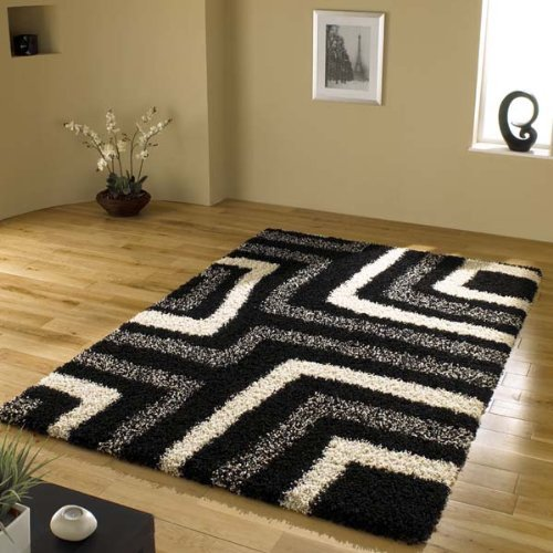 Tides Black Cream Grey Modern Shaggy Home Rug 4 SIZES AVAILABLE, 200x290cm (6ft6''x 9ft0'')