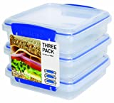 Sistema Klip It 3 by 15.2-Ounce Sandwich Box Set, 3-Pack, Clear