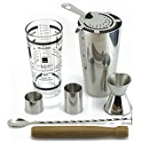 TeiKis® Boston Cocktail Shaker Ultimate Gift Set including 30oz Boston Cocktail Shaker&Glass + Prong Hawthorn Strainer + 25&50ml Measure + Bar Spoon with Masher + Wooden Muddler + 30/50ml Jiggle. Stainless Steel Quality