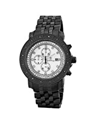 "JBW-Just Bling Men's JB-6114-F ""Melbourne"" Black Ion-Plated Chronograph White Dial 0.16 Carat Diamond Watch"