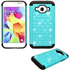 Phone Case for Straight Talk Samsung S820c Prepaid Galaxy Core Prime LTE Smartphone Crystal-teal-black Silicone Hybrid Hard Cover