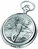 Woodford Skeleton Pocket Watch, 1913/SK, Men's Chrome-Finished Monarch Of The Glen Pattern with Chain (Suitable for Engraving)