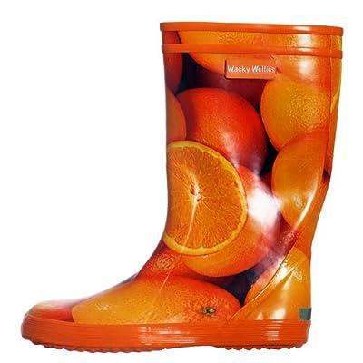 Fab Kids Orange Pattern Design Wellington Boots
