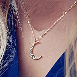 BeOne®Chic Womens Crescent Moon Pendant Inlay CZ Diamond Golden Chain Necklace Gothic Costume Jewellery