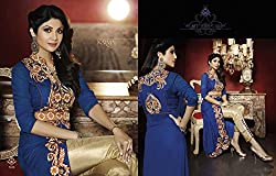 Stylish Fashion Shilpa Shetty Designer Blue Neck Embroidered Straight Salwar Suit