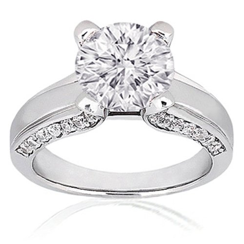 1.40 Ct Round Diamond Engagement Ring Pave 14K