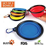 Collapsible Travel Dog Bowl * Set of 3 * by Buster Pets - Carabiners Included - Perfect Dogs Food & Water Bowl - Dishwasher Safe Premium Food Grade Silicone - BPA Free 100% Money Back Guarantee