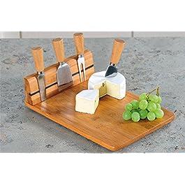Kesper tabla de cortar de bambú de queso, con soporte magnético y 4 unidades Cubiertos de acero inoxidable, 30 x 20 x 8 cm