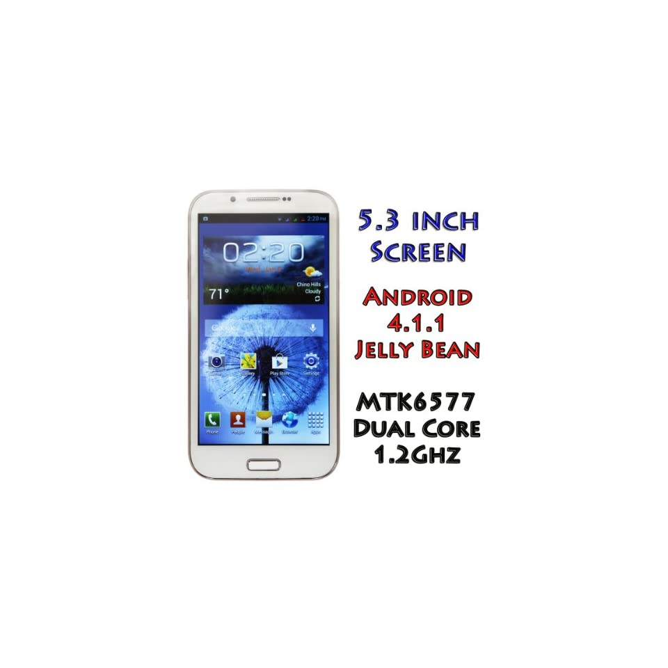 PAE7100 Unlocked Android Phone 4.1.1 Jelly Bean 5.3 Inch Screen MTK6577 1GHz Dual SIM 3G/4G Free Tether WiFi AT&T Straight Talk T Mobile   Shipping from California