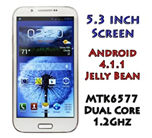 PAE7100 Unlocked Android Phone 4.1.1 Jelly Bean 5.3 Inch Screen MTK6577 1GHz Dual SIM 3G/4G Free Tether WiFi AT&T Straight Talk T-Mobile - Shipping from California