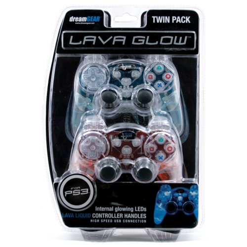 Ps3 Lava Glow Wired Controller Twin Pack