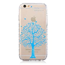 buy Iphone 6S Plus Case, Sophia Shop Ultra [Thin Slim] Premium Flexible Soft Tpu Extra Grip Anti-Scratch Protective Transparent Border Back Cover For Apple Iphone 6 Plus /6S Plus(Blue Tree)