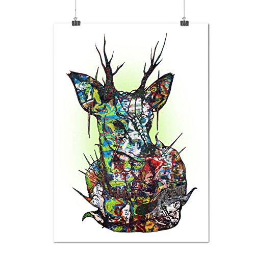 Psychédélique La nature Cerf Matte/Glacé Affiche A0 (119cm x 84cm)   Wellcoda