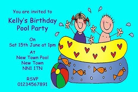 10 X SPLASH Kinder Personalisierte Einladungskarten Für Schwimmbad ...