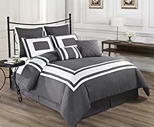 8 Piece Modern Comforter Set with White Stripe Border, Queen and King in 4 Colors - Ultra Plush and Cozy Bedding Set (King, Grey)
