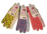 G & F 1852-3 Women Soft Jersey Garden Gloves, 3-Pairs Green/Pink/Blue per Pack