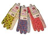 G & F 1852-3 Women Soft Jersey Garden Gloves, 3-Pairs Green/Pink/Blue per Pack