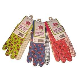 G & F 1852-3 Women Soft Jersey Garden Gloves, 3-Pairs Green/Red/Blue per Pack