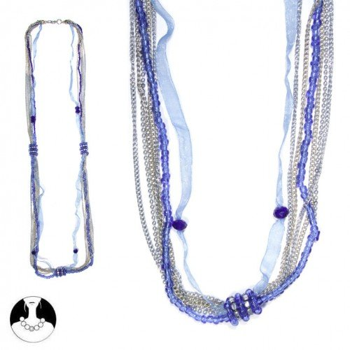 sg paris women necklace long necklace 100 cm 7 rows montana blue glass
