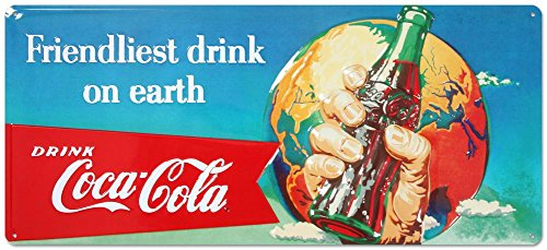 Drink Coca Cola Coke Friendliest Drink on Earth Tin Sign 8 x 18in 0