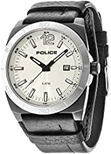 Police Stampede Men's Quartz Watch with Silver Dial Analogue Display and Black Leather Strap 14107JSBS/04